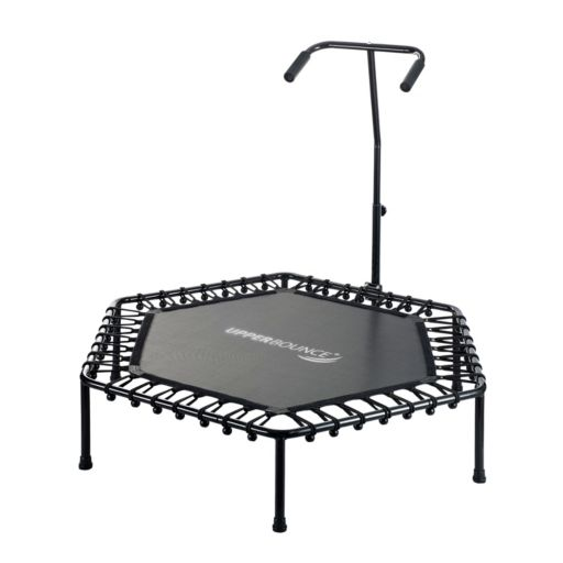 Upper Bounce 50-Inch Hexagonal Fitness Mini-Trampoline with T-Shaped Adjustable Hand Rail & Bungee Cord Suspension