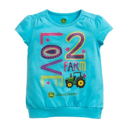 "Girls 4-6x John Deere ""Love 2 Farm"" Graphic Tee"