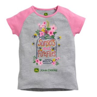 "Girls 4-6x John Deere Raglan ""Sunsets and Fireflies"" Graphic Tee"
