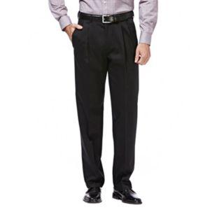 Men's Haggar Premium No Iron Khaki Stretch Classic-Fit Pleated Pants