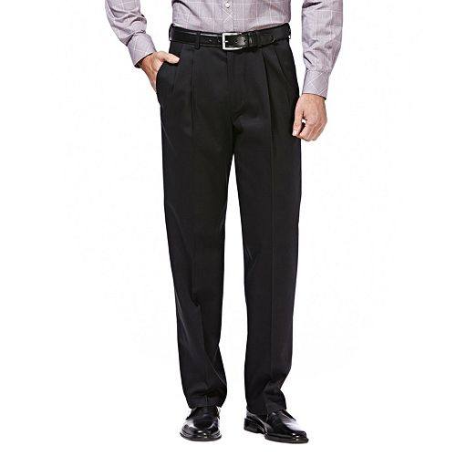 Men's Haggar® Premium No-Iron Khaki Stretch Classic-Fit Pleated Expandable Waist Pants