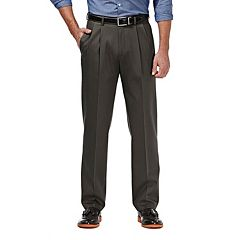 Men's Haggar Premium No Iron Khaki Stretch Classic-Fit Pleated Pants
