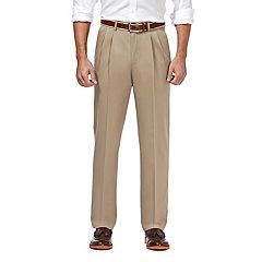 Men's Haggar® Premium No-Iron Khaki Stretch Classic-Fit Pleated Expandable Waist Pants