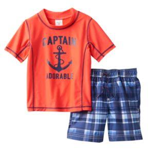 "Baby Boy Carter's ""Captain Adorable"" Anchor Rashguard & Swim Trunks Set"