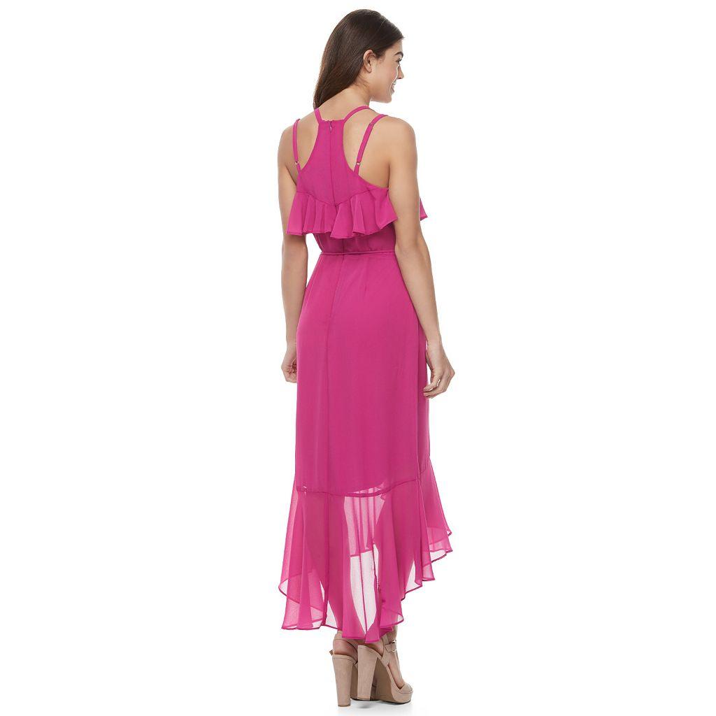 Juniors' Jolie Vie High-Low Faux Wrap Dress