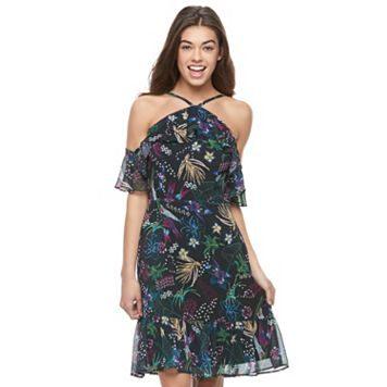 Juniors' Jolie Vie Floral Cold Shoulder Halter Dress
