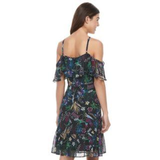 Juniors' Jolie Vie Floral Cold Shoulder Halter Dress