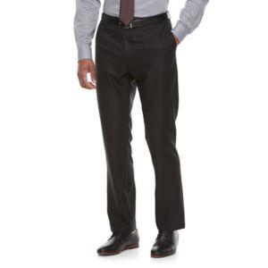 Men's Apt. 9® Premier Flex Slim Fit Herringbone Flat-Front Black Suit Pants
