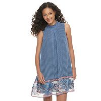 Juniors' Speechless Smocked Mock Neck Shift Dress