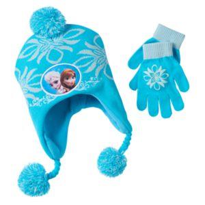 Disney's Frozen Anna & Elsa Girls Hat & Gloves Set