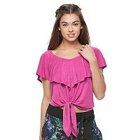 Juniors' Jolie Vie Ruffle Cross Back Top