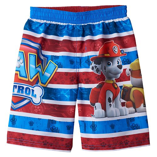 acb28705f07bc Toddler Boy Paw Patrol Chase, Marshall & Rubble Striped Swim Trunks