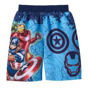 Toddler Boy Marvel Avengers Captain America, Iron Man & Hulk Swim Trunks