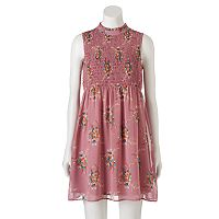 Juniors' Lily Rose Floral Mockneck Dress