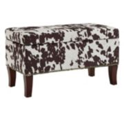 Linon Faux Cow Storage Ottoman Bench