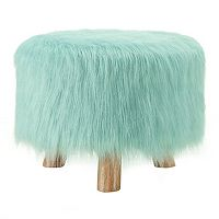 Linon Home Decor Faux-Fur Stool