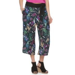 Juniors' Jolie Vie Floral Wide-Leg Crop Pants