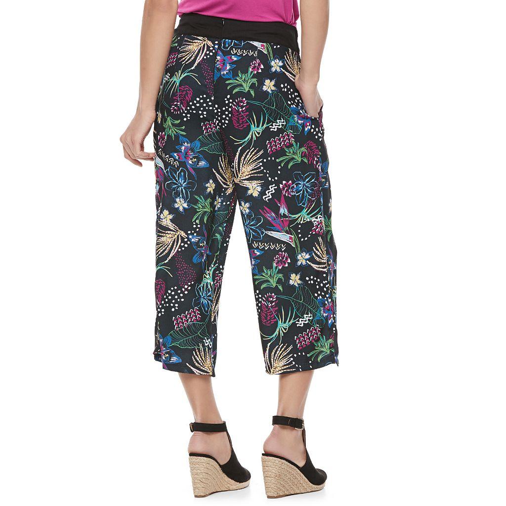 Juniors' Jolie Vie Floral Wide-Leg Crop Pants