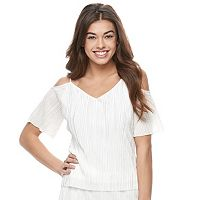 Juniors' Jolie Vie Cold Shoulder Crinkled Top