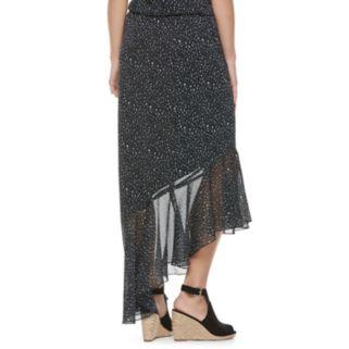 Juniors' Jolie Vie Print Asymmetrical Skirt