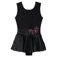 Girls 4-14 Jacques Moret Bow Rhinestud Skirtall Leotard