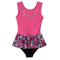 Girls 4-14 Jacques Moret Garden of Flowers Skirtall Leotard