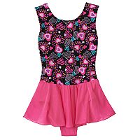 Girls 4-14 Jacques Moret Heart Shapes Skirtall Leotard