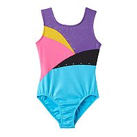 Girls 4-14 Jacques Moret Foil Splash Gym Leotard