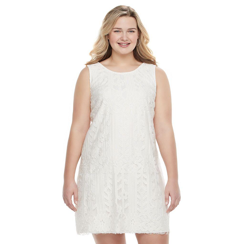 Juniors' Plus Size Speechless Eyelash Lace Shift Dress