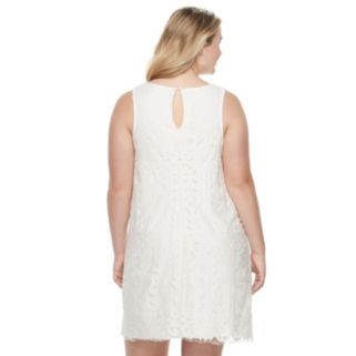 Juniors' Plus Size Speechless Eyelash Lace Shift Dress