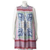 Juniors' Plus Size Speechless Mosaic Mockneck Shift Dress