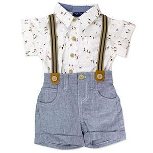 Baby Boy Baby Boyz Button-Down Bodysuit & Suspender Shorts Set