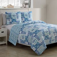 VCNY 3 pc Patchwork Sealife Quilt Set