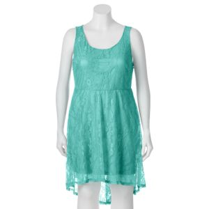 Juniors' Plus Size Wrapper Lace High-Low Skater Dress