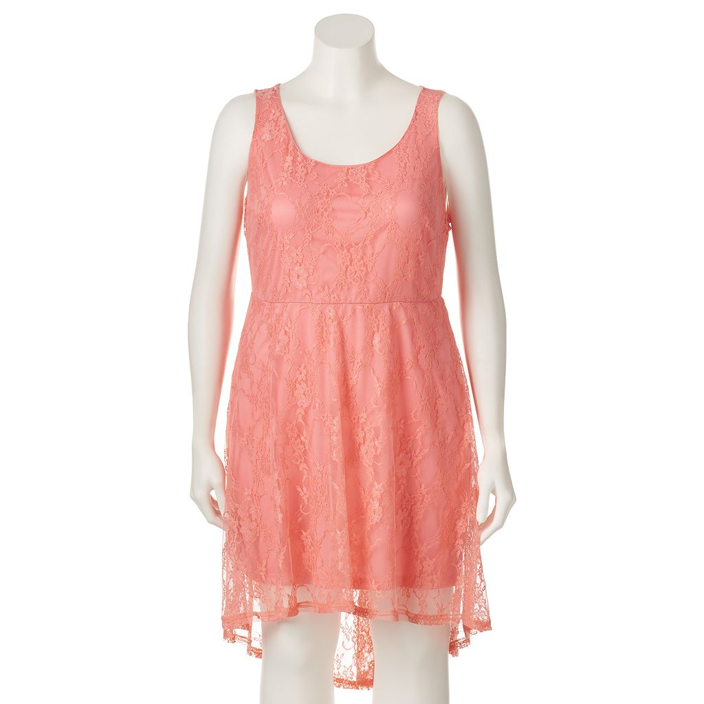 Juniors' Plus Size Wrapper Lace High-Low Skater Dress