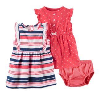 Baby Girl Carter's Polka-Dot Henley & Ruffle Dress Set
