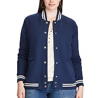 Plus Size Chaps French Terry Baseball Jacket
