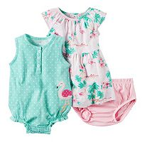 Baby Girl Carter's Sunsuit, Dress & Bloomers Set