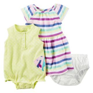 Baby Girl Carter's Sunsuit, Dress & Bloomers Set