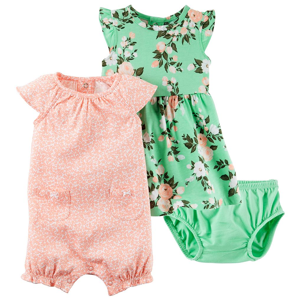Baby Girl Carter's Dress & Floral Sunsuit Set