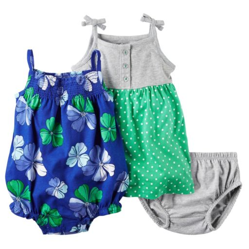 Baby Girl Carter's Henley Dress & Floral Sunsuit Set