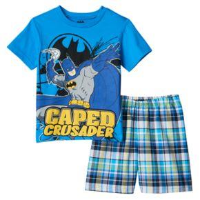 "Boys 4-7 DC Comics Batman ""Caped Crusader"" Graphic Tee & Plaid Shorts Set"