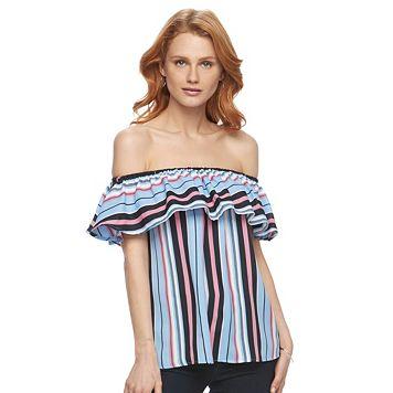 Women's Harve Benard Striped Off-the-Shoulder Top