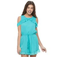 Juniors' Jolie Vie Ruffle Cold Shoulder Romper