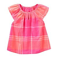 Toddler Girl OshKosh B'gosh® Plaid Cap Sleeve Blouse Top