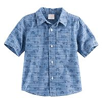 Toddler Boy Jumping Beans® Cars Chambray Button-Front Short Sleeve Shirt