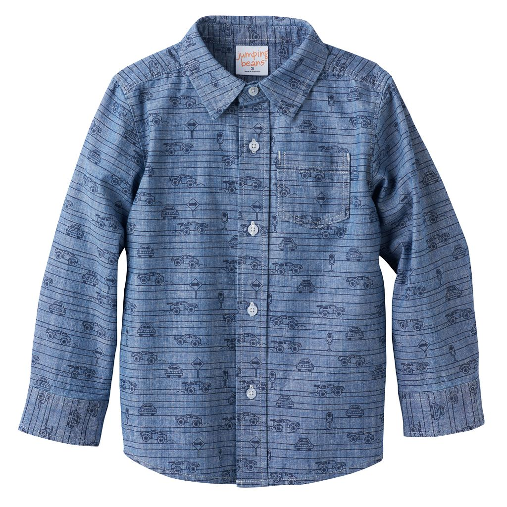 Baby Boy Jumping Beans® Cars Chambray Button-Front Shirt