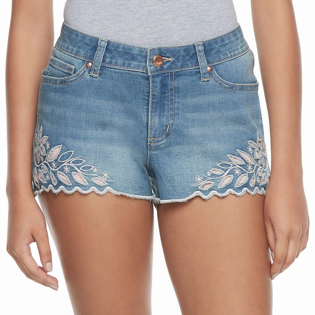 Juniors' Candie's® Floral Cutout Denim Shortie Shorts