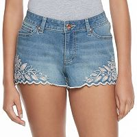 Juniors' Candie's® Floral Cutout Denim Shortie Shorts