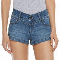 Juniors' Candie's® Dolphin Hem Denim Shortie Shorts